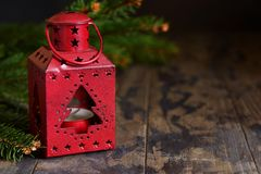 New Year card. Christmas background. Klassichesky Christmas. Lantern and scenery on a dark background royalty free stock photography