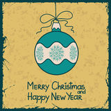 New Year card with Christmas ball decoration Stock Photos