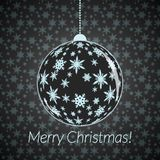 New Year card with  Christmas ball with small snowflakes on seamless background. Royalty Free Stock Image
