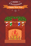 New Year card. Christmas card. Burning fireplace on a red background. Flat design. Vector illustration stock illustration