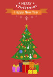 New Year card. Christmas card. Decorated Christmas tree with gifts. Flat design. Vector illustration stock illustration