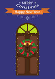 New Year card. Christmas card. Entrance door with a Christmas wreath and a garland. Flat design. Vector illustration vector illustration