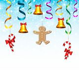 New year card. Christmas fir branches with candy, serpentine, bell and gingerbread man. 10 eps stock illustration