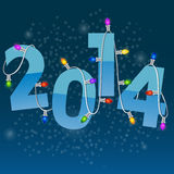 New Year card with christmas garland. 2014 New Year card with colorful christmas garland Stock Photo