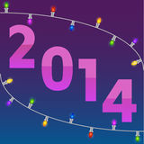 New Year card with christmas garland. 2014 New Year card with colorful christmas garland Royalty Free Stock Photo