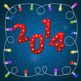 New Year card with christmas garland. 2014 New Year card with colorful christmas garland Royalty Free Stock Image