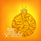 New Year card with the Christmas luxury triangle gold ball. Vector illustration Stock Images