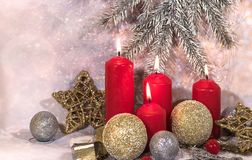New Year card. Christmas red candles. New Year`s design stock photos