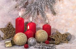 New Year card. Christmas red candles. New Year`s design royalty free stock photos