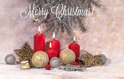 New Year card. Christmas red candles. New Year`s design royalty free stock image