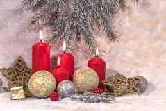 New Year card. Christmas red candles. New Year`s design stock photography