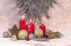 New Year card. Christmas red candles. New Year`s design stock photo
