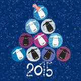 2015 new year card with Christmas tree of cute sheeps. Vector i. Hand-drawn cute lamb. New year illustration 2015, sketch, elements for design royalty free illustration