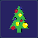 New year card with Christmas tree. Illustration of Christmas tree on the blue background Stock Photography