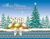 New Year 2018. Christmas tree. New year card with Christmas tree on a nature background vector illustration