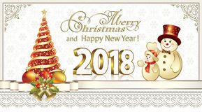 New Year card 2018 with a Christmas tree and snowmen. Christmas card 2018 with a Christmas tree and snowmen in a frame with an ornamen Royalty Free Stock Photos