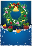 New year card with christmas wreath Stock Images