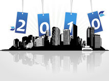 New year card with city. Royalty Free Stock Image