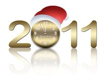 New year card with clock Royalty Free Stock Photo