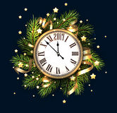 2017 New Year card with clock. 2017 New Year blue background with clock. Vector illustration Royalty Free Stock Photos