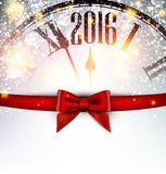 2016 New Year card. With clock and bow. Vector illustration Stock Photos