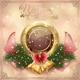 New Year card with a clock and decorations with toys, bow and frame. Ornament background Stock Photos
