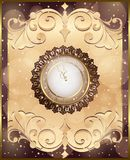 New Year card with a clock and decorations with toys, bow and frame ornament. Background Stock Image