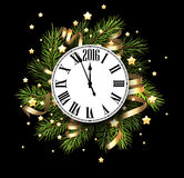 2016 New Year card. With clock. Vector illustration Royalty Free Stock Image