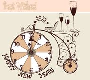 New year card with clocks and bicycle in vintage style Royalty Free Stock Photo