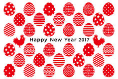 New year card of cocks and eggs . eggs with decorative design. Stock Images