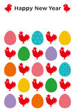 New year card of cocks and eggs . eggs with Japanese traditional design. Royalty Free Stock Photos
