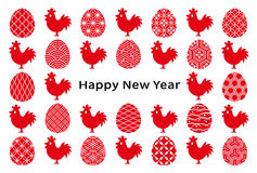 New year card of cocks and eggs . eggs with Japanese traditional design. Royalty Free Stock Photography