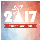 New Year card with colored polygonal background and Christmas tree Royalty Free Stock Images