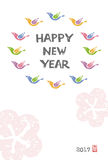 New Year Card with colorful birds. In circle Stock Photography