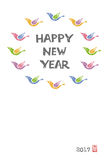 New Year Card with colorful birds Royalty Free Stock Images