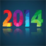 2014 New Year card. With colorful origami paper numeral figures stock illustration