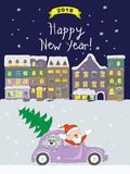 New year 2018 card with coming santa to night old city. New year 2018 card with cartoon santa claus and dog traveling in the retro auto and text Happy New Year royalty free illustration