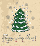New Year card with conifer and text Royalty Free Stock Image