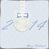 2014 new year card. With cute ball with bow Royalty Free Stock Images