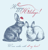 New Year card with cute bunnies. New year card with bunny hand drawn Royalty Free Stock Photos