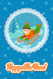New year card cute child on snow sledding. Vector illustration with lettering congratulation. Stock Images