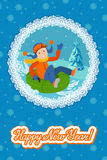 New year card cute child on snow tubing. Vector illustration with lettering congratulation. Cute child on snow tubing. Vector illustration new year card Royalty Free Stock Photo