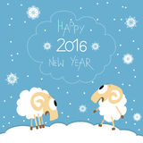 New Year card with cute funny screaming sheep Royalty Free Stock Image
