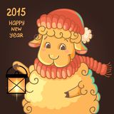 New Year Card with cute lamb in hat. Lamb with lantern on black background royalty free illustration