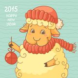 New Year Card with cute lamb in hat. Lamb with present on blue background royalty free illustration