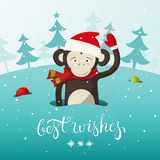 New Year card with cute monkey - the symbol of Royalty Free Stock Photography