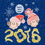 2016 new year card with cute  monkeys. Stock Photos