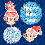 2016 new year card with cute  monkeys. Vector illustration.Symbo Stock Photo