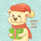 New Year Card with cute polar bear in hat Stock Images