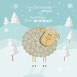 2015 new year card with cute sheep. Chinese Goat. Vector illustration. Snowflakes on winter background Royalty Free Stock Photography